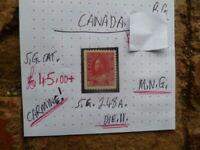 CANADA  STAMP KGV CARMINE  SG 248A  DIE II M.N.G.