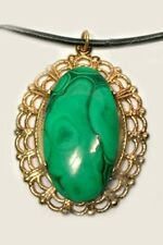 18thC Antique 26ct Malachite Ancient Egypt Eyeshadow Egyptian Sinai Gem Pendant
