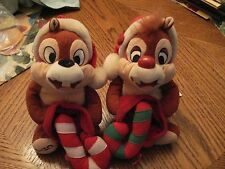 "Vtg set Disney Chip & Dale W Candy-Canes Beanie Plush Christmas 11"" NICE !"