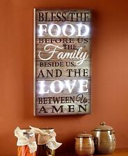 Lighted sentiment Wall Art Bless The Food Wooden Plaque Wall Sign Home Decor