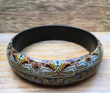Lovely Vintage Style Brown Printed Bangle/Arts & Crafts/Art Nouveau Dsgn/Chunky