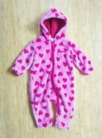 Hanna Andersson Bunting Baby 70 6-12 Months Fleece Pink Red Heart Fuzzy Winter