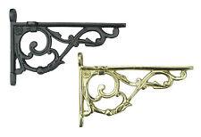 "Pair 6""/ 15cm Bathroom Shelf Brackets Antique Ornate Style [Brass or Cast Iron]"