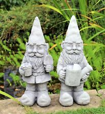 Pair  Garden Gnomes Ornament Ceramic Stone Effect 48 cm Tall Outdoor or Indoor