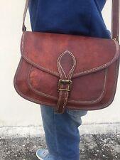 "11"" Vintage Genuine Brown Leather Cross Body Shoulder  Handmade Women Purse"