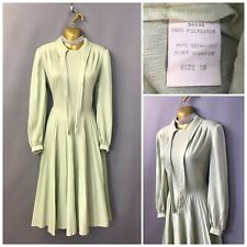 Vintage Pale Green Ribbon Neck Pleated Dress UK 16 EUR 44