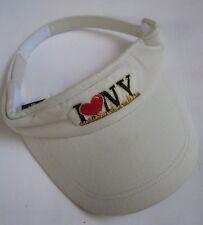 I LOVE (HEART) NEW YORK TOMMY'Z USA VISOR HAT CAP, ADJ. STRAP, OSFM, KHAKI, EXC!