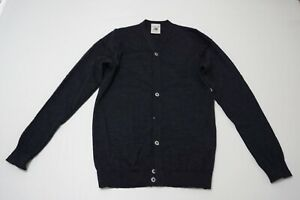 S.N.S. Herning Blue Woven Wool Metal Button Up Cardigan Sz Small S
