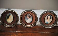 3 cameo creations Victorian lady wall art round metal frame gold color vintage