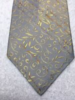 PIERRE CARDIN MENS TIE GRAY WITH GOLD AND ORANGE 4 X 59 NWT