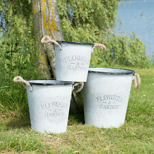Set of 3 Round Plant Pots Covers Planters Outdoor Garden Shabby Chic Vintage