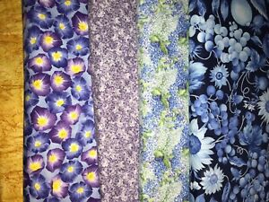 5 YARDS  Quilt Fabric Kit - Purples & Blue & Yellows