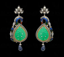 GREEN JADE HAND CARVING STONE STUDDED EARRINGS IN SOLID SILVER SE021052