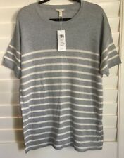 NWT $238 Eileen Fisher Peruvian Striped S/Sleeve Organic Cotton Knit Top