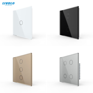 LIVOLO UK 1gang/2gang 1Way Wall Tempered Touch Glass LED Light Switches:On/Off