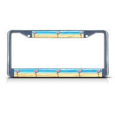FLAMINGO Chrome Metal Heavy Duty License Plate Frame Tag Border