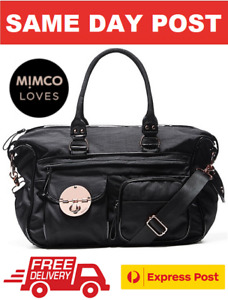 MIMCO LUCID TURNLOCK BABY NAPPY BAG + CHANGE MAT BLACK BNWT RRP$299-EXPRESS POST