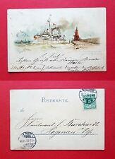 Litho Marine AK SWINEMÜNDE 1900 S.M. Panzerschiff SIEGFRIED     ( 37964
