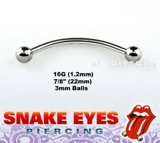 """1pc. 16G~7/8"""" Surgical Steel Curved Barbell Nipple Tongue Snake-Eyes Piercing"""
