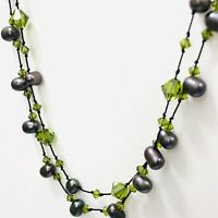 """Black Freshwater Pearl Necklace Green Glass Beaded Crystal Double Strand 17.5"""""""