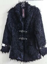 Queen Of Darkness Black Goth Punk Faux Fur Bondage Jacket Coat Women's Size S
