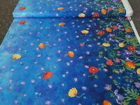 Majestic Mountains BTY Teresa Ascone P&B Textile Blue Floral Double Border
