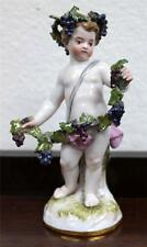 Meissen Hand Painted Porcelain Figure of Grape-Wine Wreath Cherub circa 1880s