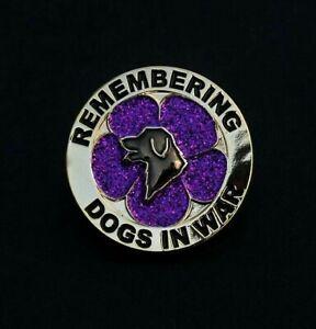 PURPLE POPPY GLITTER - DOGS - REMEMBRANCE BADGE - SILVER     (P20)