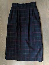 "Nordstrom Tailored Clothing Blk Plaid Modest Long Skirt Wool 26"" Waist 32"" Long"