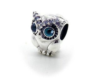 Silver Owl Charm With Sparkling CZ's For Charm Braclelets Animal Bird Charm