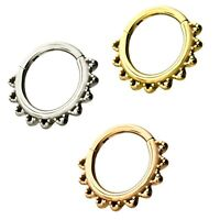 ROUNDED SPIKES STEEL HINGED SEGMENT RING HOOP DAITH/LIP/EAR/SEPTUM PIERCING 16G