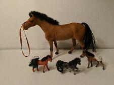 Lot Of 4 Vintage Flocked Plastic Horses