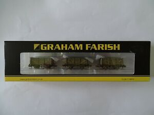 GRAHAM FARISH 377-235A SET OF MINERAL WAGONS BR GREY WEATHERED N GAUGE