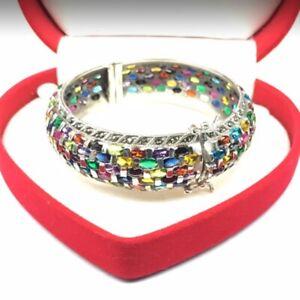 Sterling Silver 925 Bracelets Gem Stone Amulet Luck 7 color Rare Heal Sacred