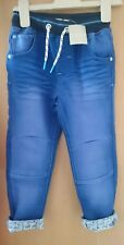 Bnwt 3-4 years Aqua Jersey Transport turn up jeans frm NEXT