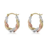 10K Gold Twist Three-Tone Hoop Earrings