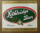 VINTAGE CANADIAN BEER LABEL - LETHBRIDGE BREWERY, LETHBRIDGE BEER 12 FL OZ