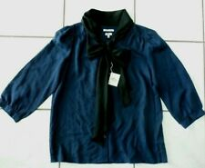 NWT LL Bean womens Signature Silk Blouse Blue with front tie Sz 8 C676