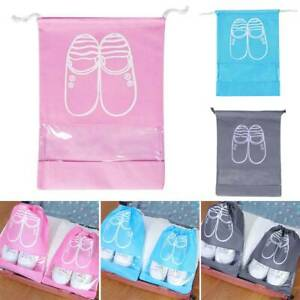 Portable Travel Shoes Storage Bag View Window Dustproof Luggage Drawstring Pouch