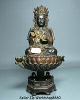 """10"""" Antique Chinese Bronze Gilt Seat Kwan-Yin Guan Yin Boddhisattva Lotus Statue"""