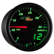 MaxTow Black & Green LED Double Vision 35psi Turbo Electronic Boost Gauge
