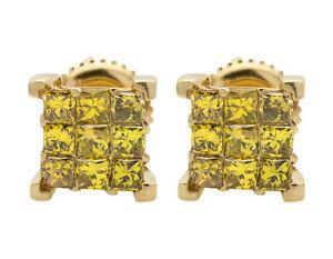 Unisex 10K Yellow Gold 4 Prong Cube Princess Canary Diamond Earrings 1.0ct 8MM