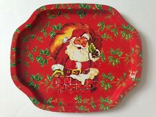 Vintage Xmas Santa In Chimney Metal Tin Hospitality Tray Hong Kong Kitsch Holly