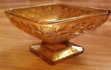 Vintage Indiana Carnival Glass Diamond Shaped Amber Pedestal Dish Bowl Flowers
