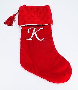 Harvey Lewis Monogram Letter K Luxurious Velvet Christmas Stocking Stuffer Gifts