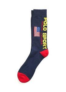 Polo Sport Men's Crew Socks - American Flag - Ralph Lauren - Cruise Navy - OS