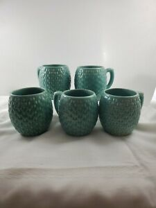 Weller Pottery Pierre Basket Weave Coffee Mugs Lot of 5 Blue Green Vintage