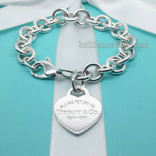 Return to Tiffany & Co Heart Tag Bracelet Charm Chain 925 Silver Authentic SMALL