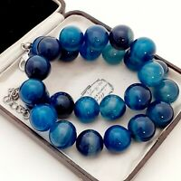 An Absolutely Beautiful Strand of Large 15mm Blue Agate Beads Necklace