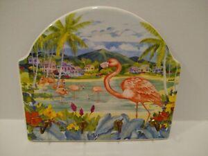 Santa Barbara Ceramic Design Key Holder Vintage 2001-Flamingos Tropical 4 Hooks